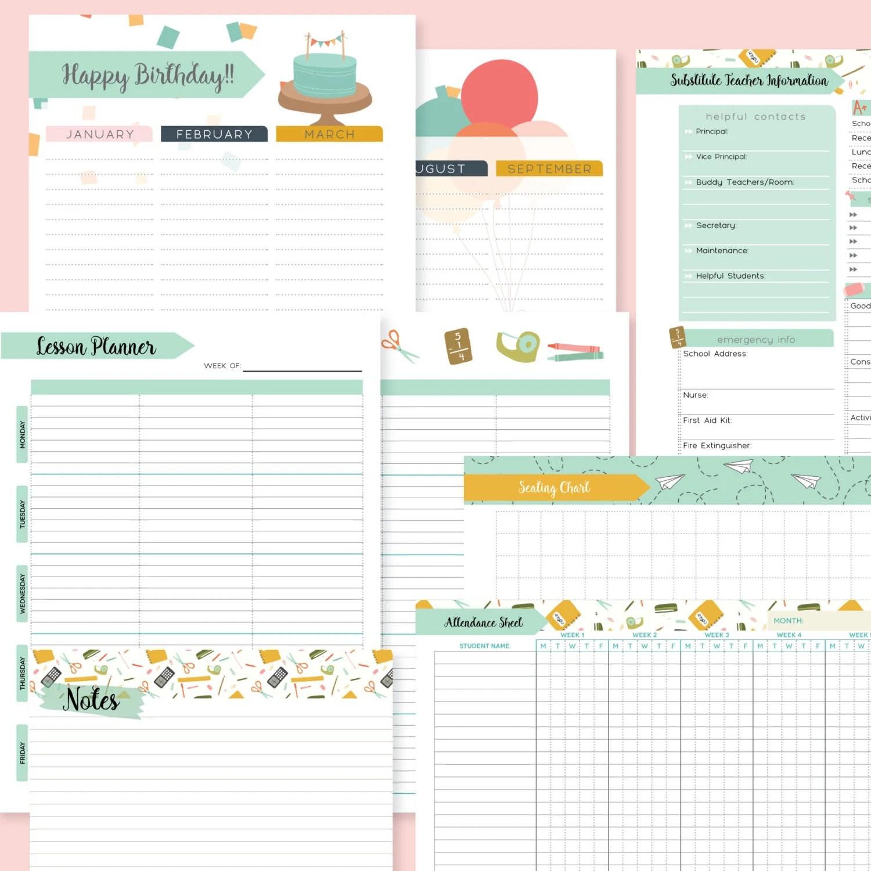 Teacher Planner Printable Editable 186 Pages