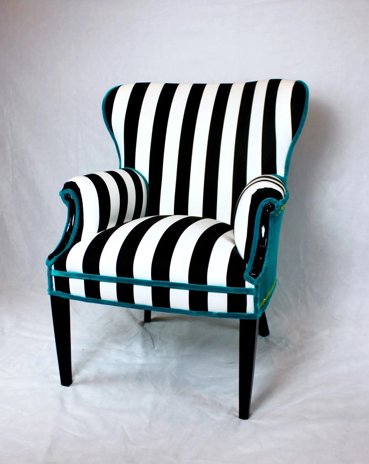 Black And White Striped Chair Sold Black And White Striped Vintage Round Wing Back Chair