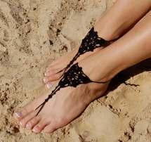 Black Barefoot Sandals Crochet Anklet Beach Wedding Shoes