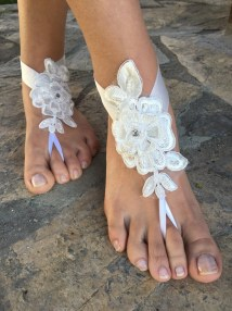 French Lace Barefoot Sandals.wedding
