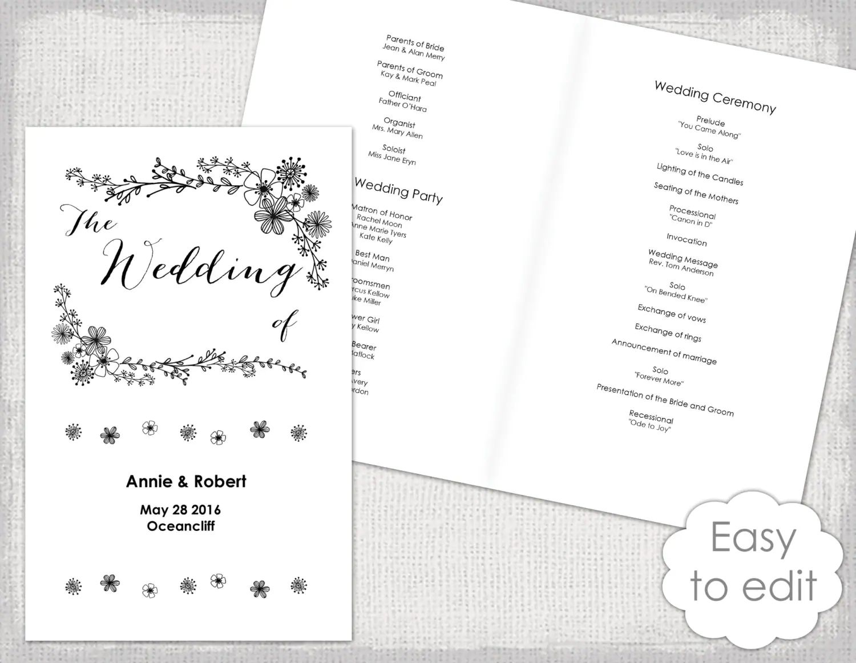 wedding program booklet template free