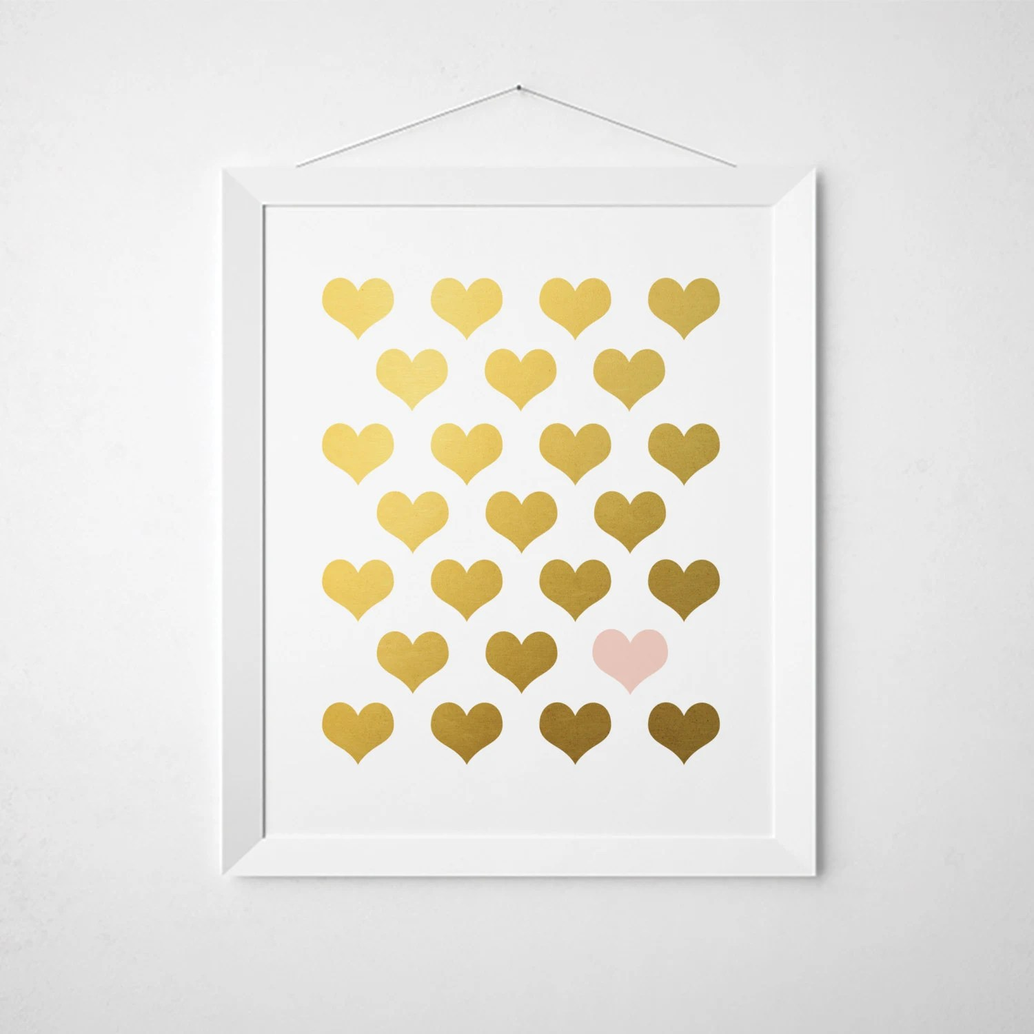 Blush Pink Gold Hearts Faux Gold Foil Wall Art 5x7