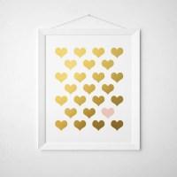 Blush Pink Gold Hearts Faux Gold Foil Wall Art 5x7