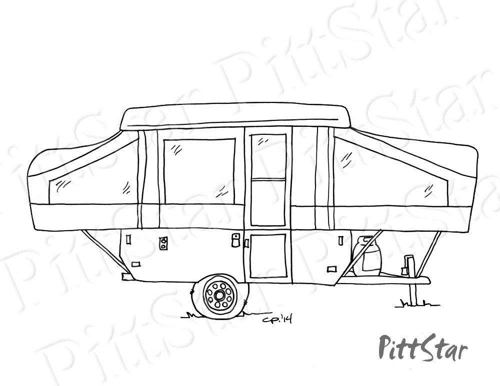 Instant Download Pop-up Travel Trailer Printable Coloring