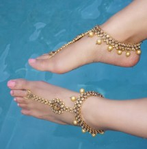 Gold Jeweled Kundan Barefoot Sandals Wedding Bride Bohemian