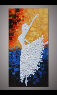 Hand-painted dancing ballerina painting wall art picture