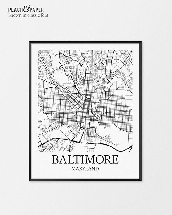Baltimore Map Art Print, Baltimore Poster Map of Baltimore