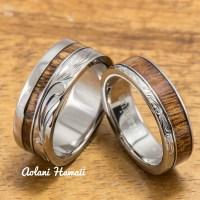 Titanium Wedding Ring Set with Hawaiian Koa Wood by ...