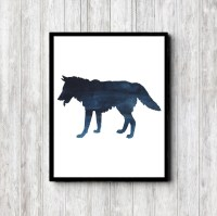 Wolf Watercolor Silhouette Wall Art Woodland Animal Print