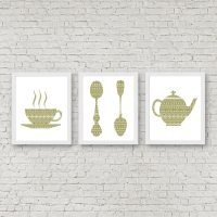 Kitchen Wall Art Set Of 3 Art Prints Teacup /Spoons