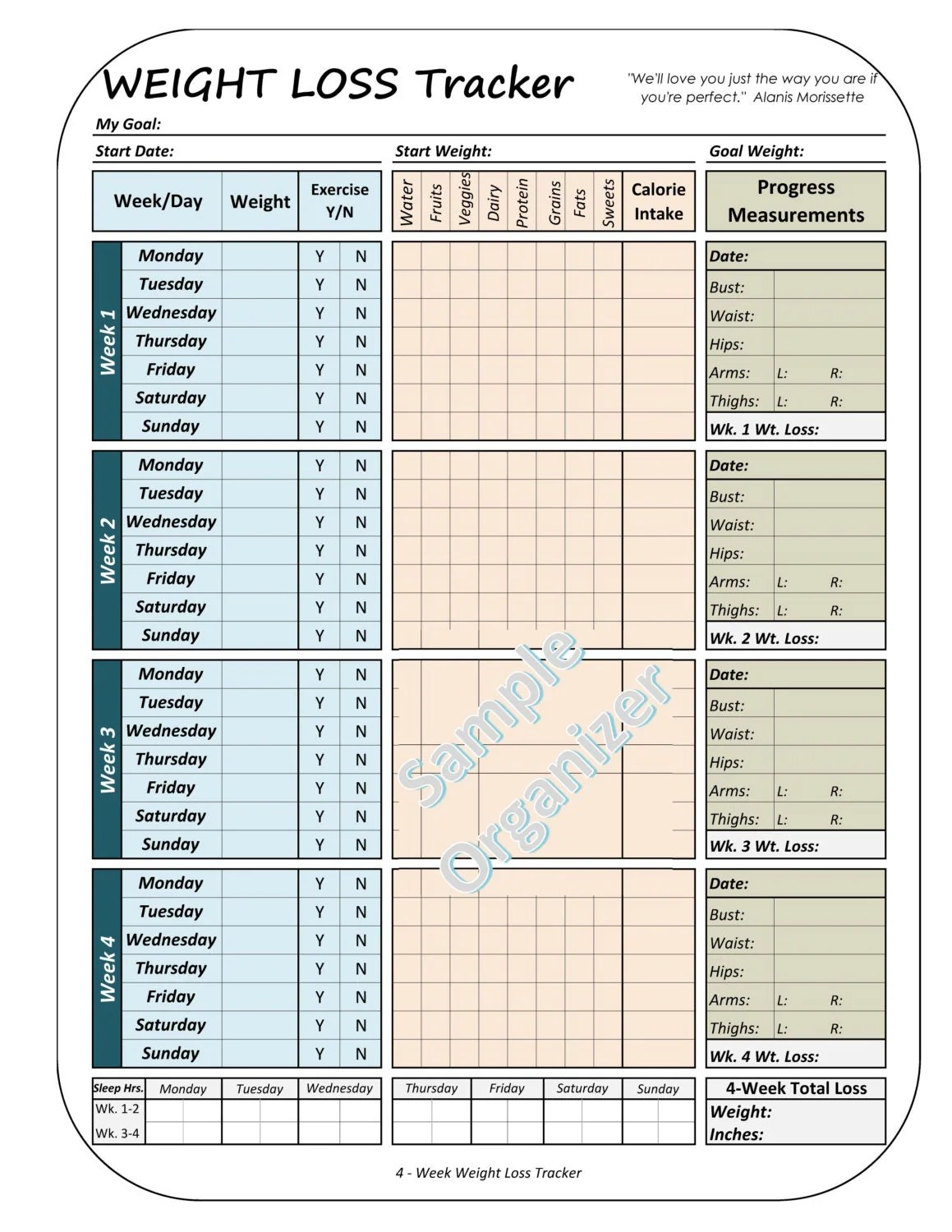 Weight Loss Tracker Printable Weight Loss Planner 4 Week