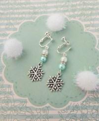 Snowflake Clip On Earrings Childrens Earrings Kids