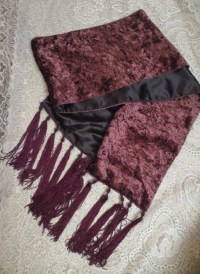 Vintage Gothic Purple Velvet Long Table Runner Scarf w/Tassels