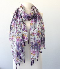 Purple scarf floral scarf printed scarf scarves for women