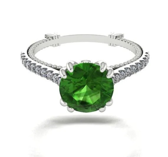 Engagement Rings Wedding Diamond Ring Green Natural Bicolor