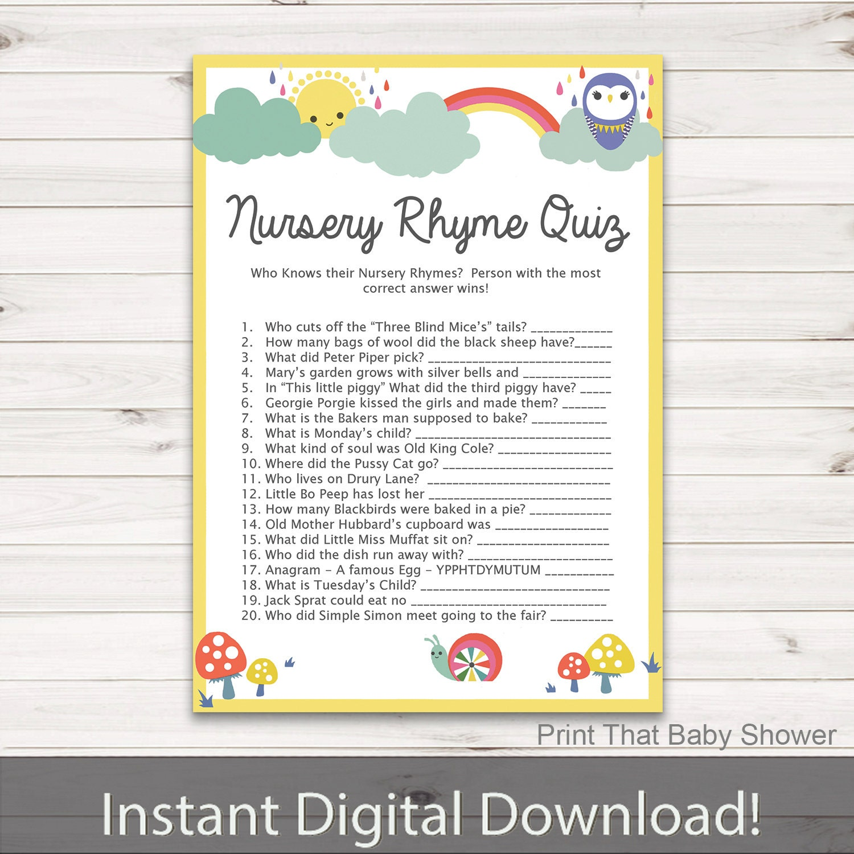 Baby Shower Games Nursery Rhyme Quiz Game Rainbow Baby