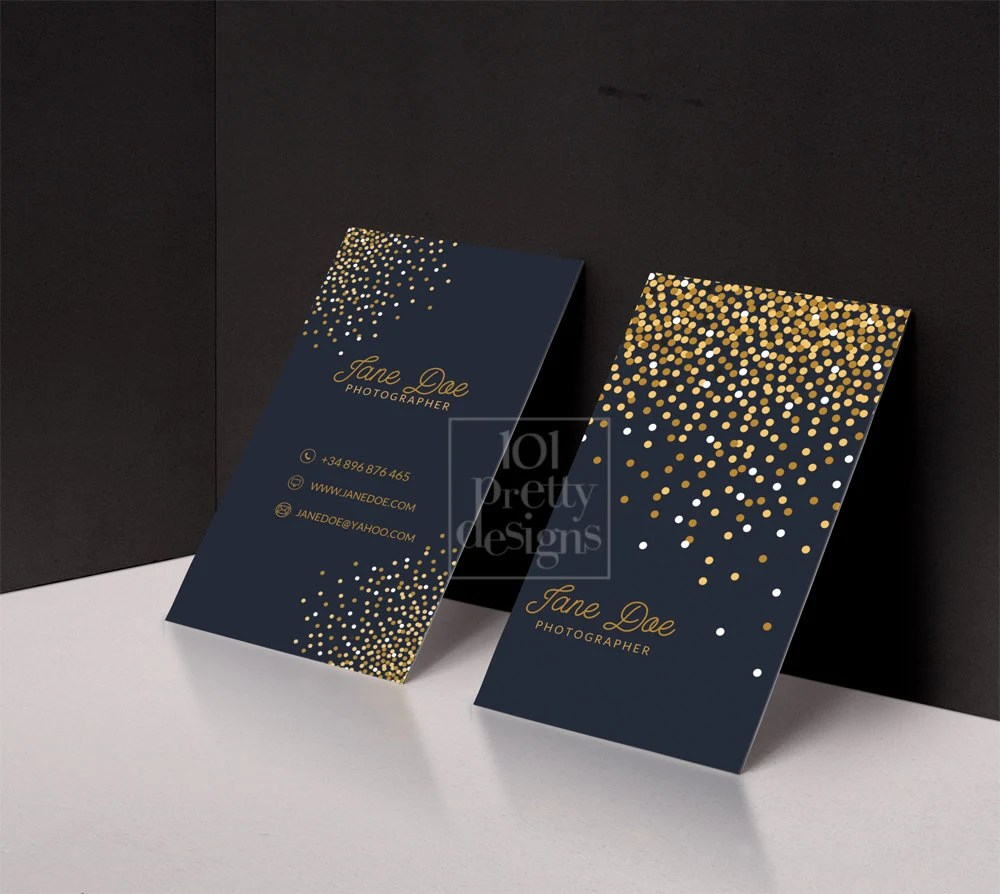 Gold Glitter Business Card Template Gold Printable