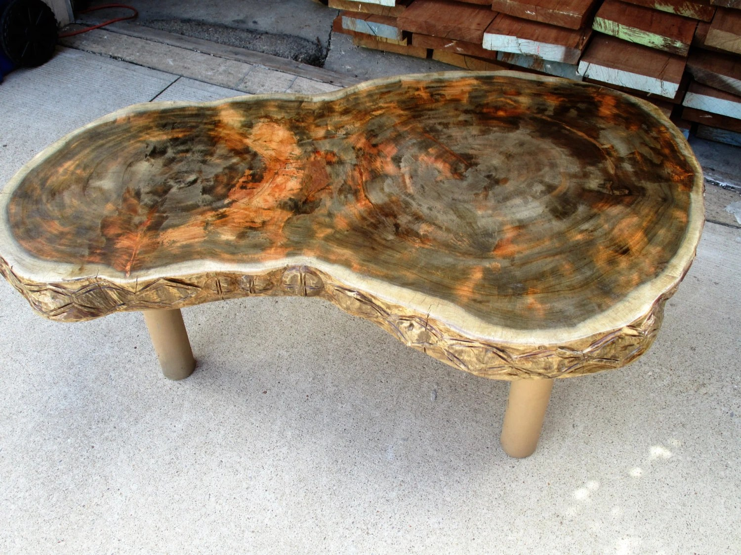 Neem Tree Stump Coffee Table With Steel Pipe Legs By