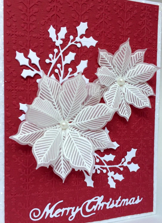 Unique 3D Vellum Poinsettia Card Hand Made Christmas Card
