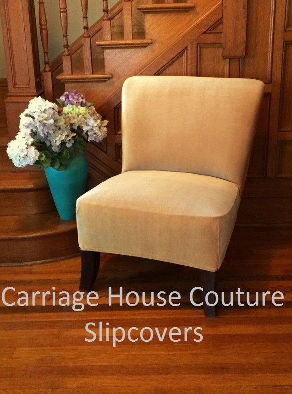 Slipcover Gold Stretch Velvet Chair Cover for Armless Chair