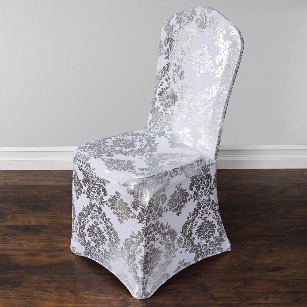 Damask Design SpandexLycra Chair Cover Silver and Gold