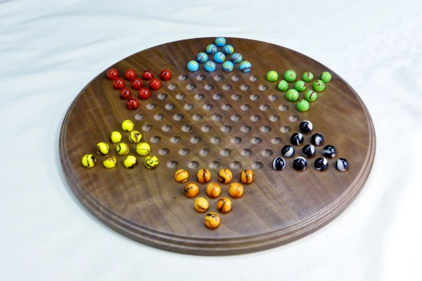 Chinese Checkers With Marbles Walnut Board