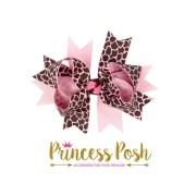 pink leopard print hair bow