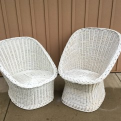 Rattan Egg Chair Swivel Outdoor Chairs His And Hrs Vintage Wicker Pair