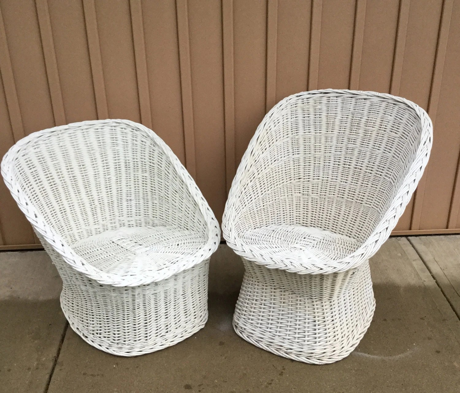 Egg Basket Chair His And Hrs Vintage Wicker Egg Chairs Pair