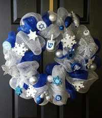 Hanukkah Wreath Hanukkah Decorations Blue and Silver ...