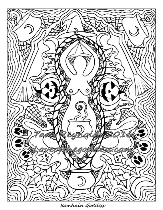 coloring page for adults samhain halloween goddess coloring
