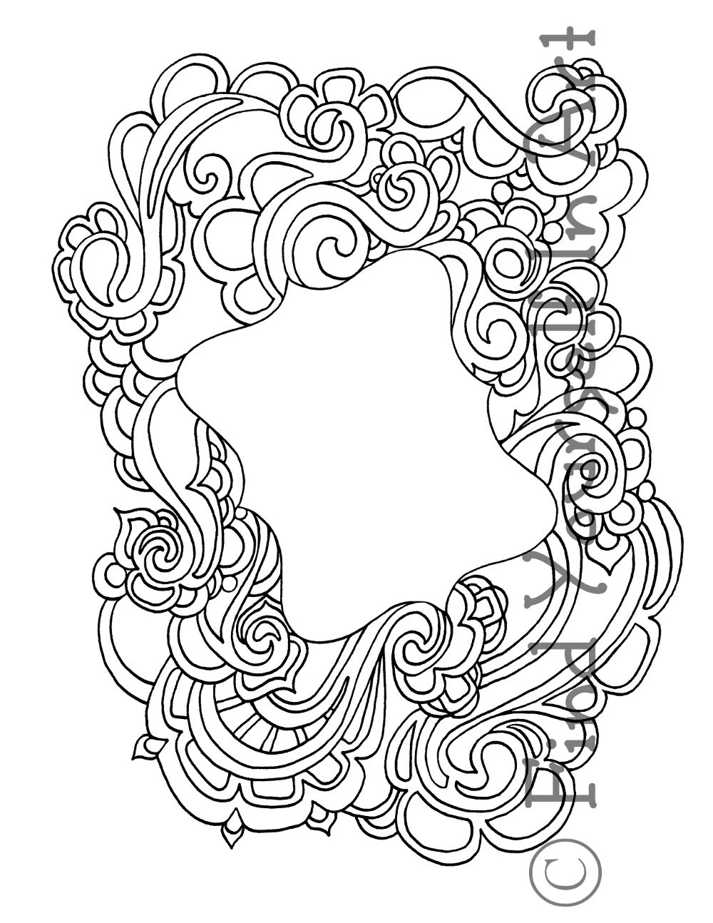 Adult Coloring Page Black And White Border Design 3