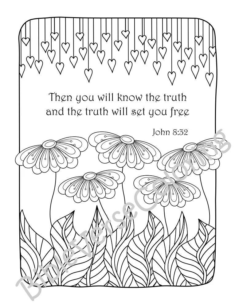5 Bible Verse Coloring Pages Set Floral DIY Adult Prayer