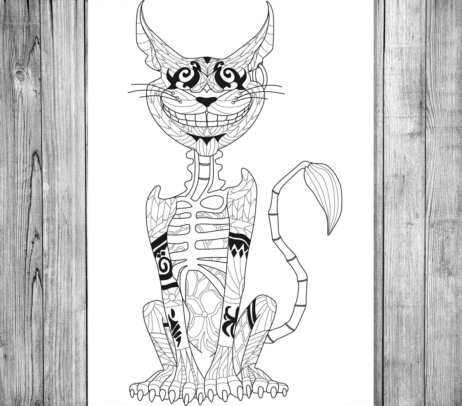 Cheshire Cat Coloring Page Adult Coloring Book Adult Coloring