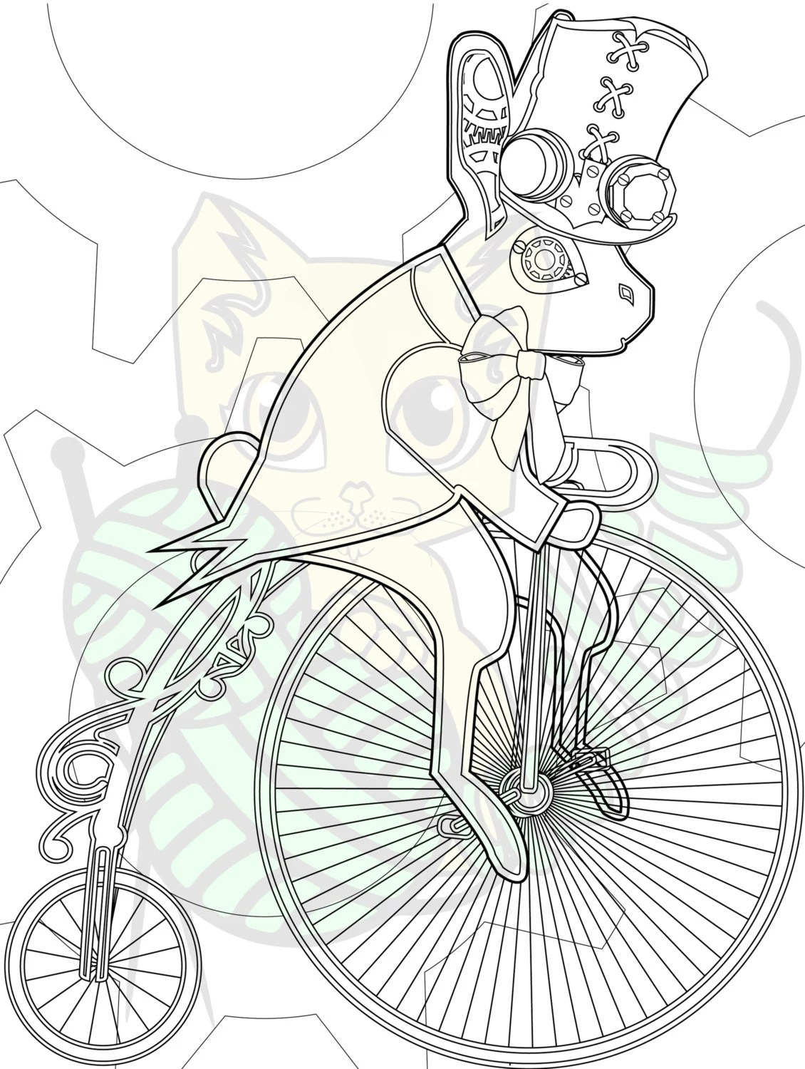 Steampunk victorian bunny on bike 8x10 inch coloring sheet