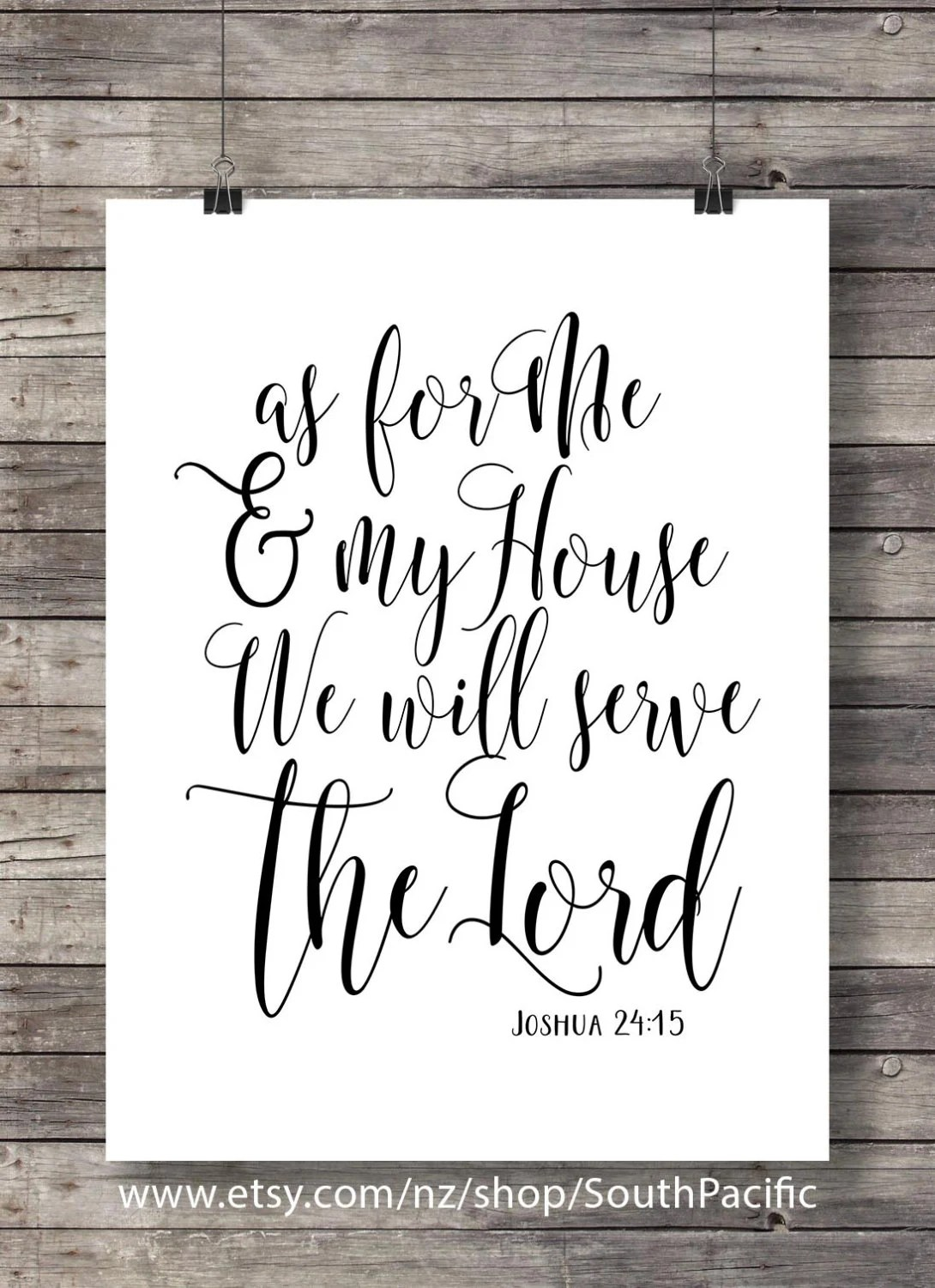 As For Me And My House Bible Verse Print Joshua 24 15