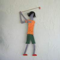 Metal wall art guy golfer recycled metal wall golf art sports