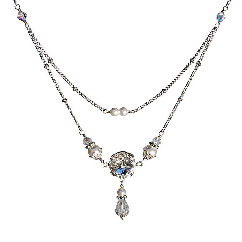 Vintage Necklace Swarovski Elements Rivoli Crystal Necklace