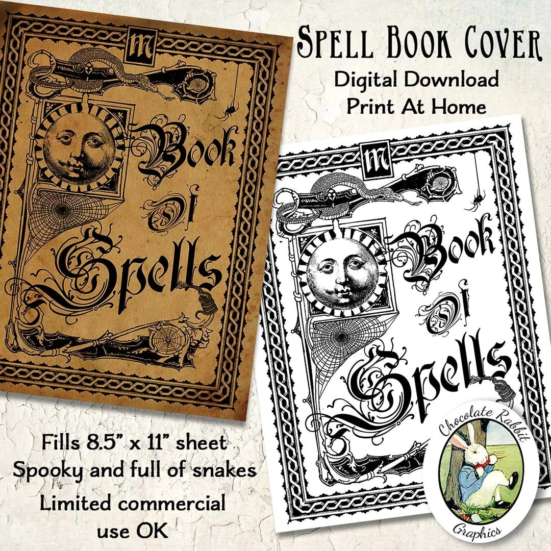 Witch Spell Book Cover Halloween Vintage Style Digital