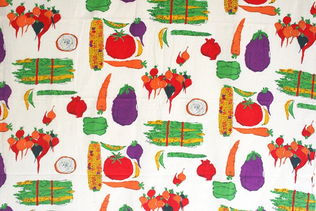 Vintage Kitchen Themed Fabric Yardage Fruit Fabric Vegetable