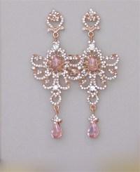 Blush Chandelier Earrings Rose Gold Bridal Earrings Long