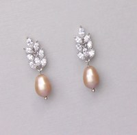 Champagne Pearl Earrings Pearl Drop Earrings Blush Pearl