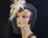 As seen in HAUTE TALK, Bridal Feather Fascinator, Bridal Fascinator, Bridal Headpiece, Bridal Hair Accessories, Birdcage Bridal Veil