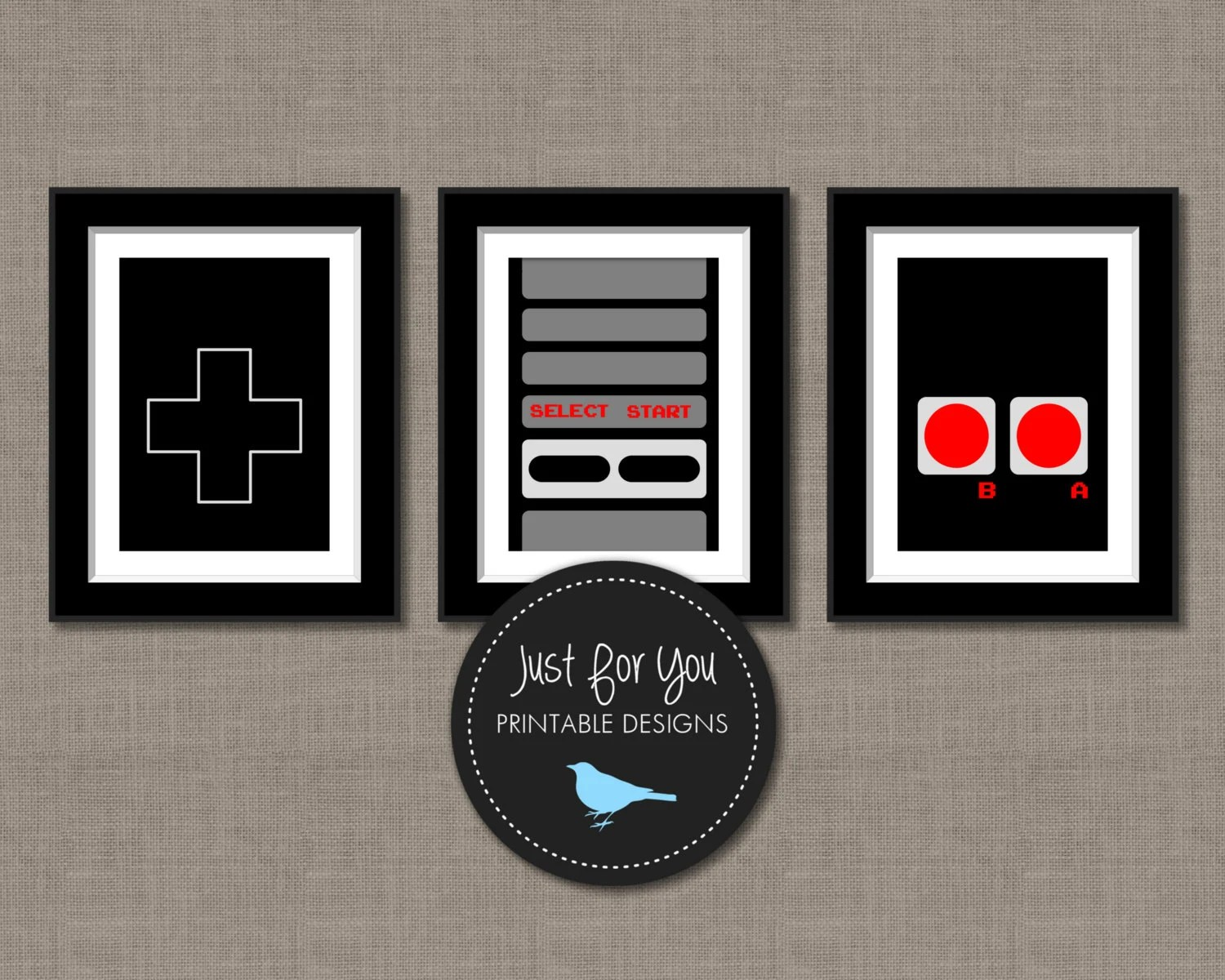Video Game Controller Wall Art Printables 16x20 8x10 Set