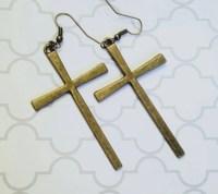Large Cross Earrings Christian Earrings Religious Earrings
