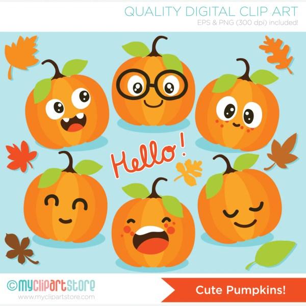 clipart cute pumpkins fall