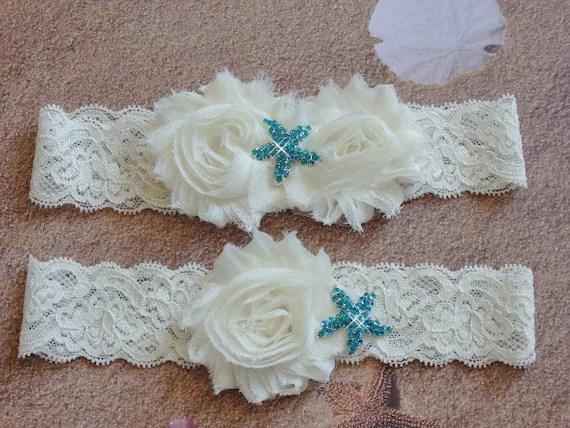 Something Blue Beach Wedding Garter With Aqua Starfish Ivory