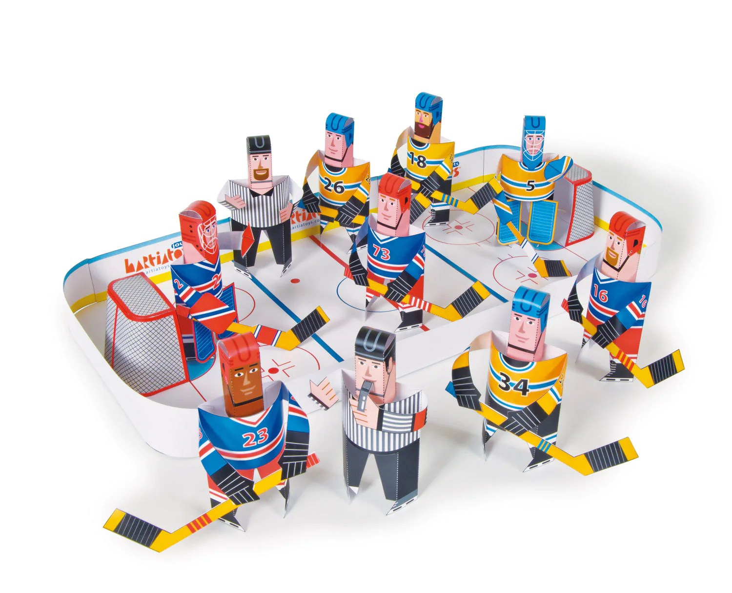 Ice Hockey DIY Paper Craft Kit 3D Paper Toys Colourful