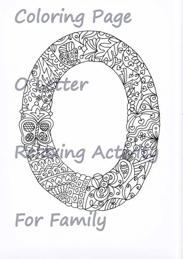 Letter O Coloring Page, Zentangle Art Inspired, Adults