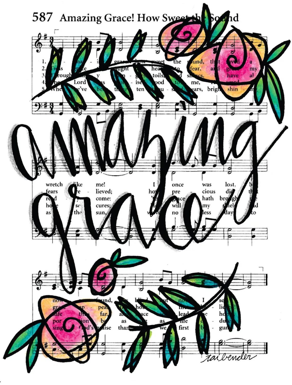 Amazing Grace 5x7 Print Hymn Fine Art Hymnal Watercolor Ink